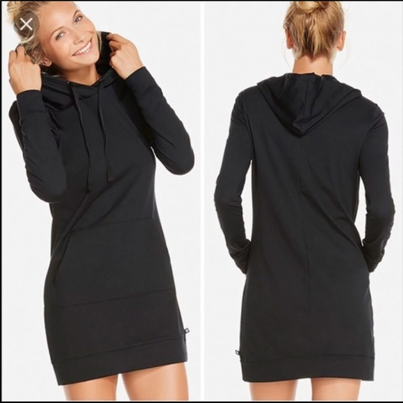 Fabletics Dresses   Skirts - Fabletics Yukon black Sweatshirt hoodie dress L 63202075c0